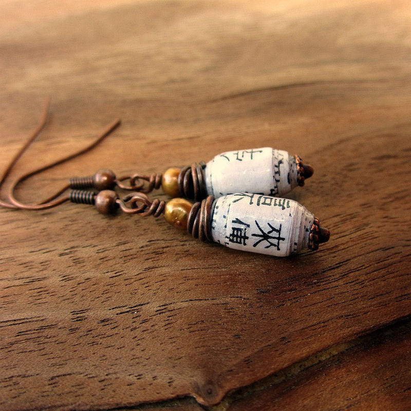 Dangle Earrings: Copper and Pearl with Handmade Recycled Paper Beads, Copper Blossom - product images  of