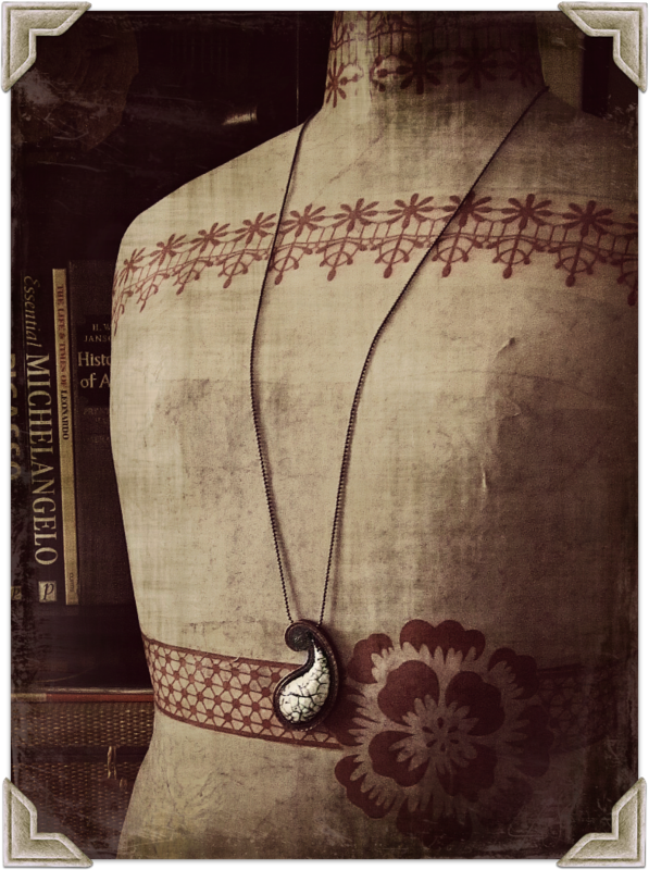 Long Antique White Paper Mache Paisley Pendant Necklace on Ball Chain: Rapur - product images  of