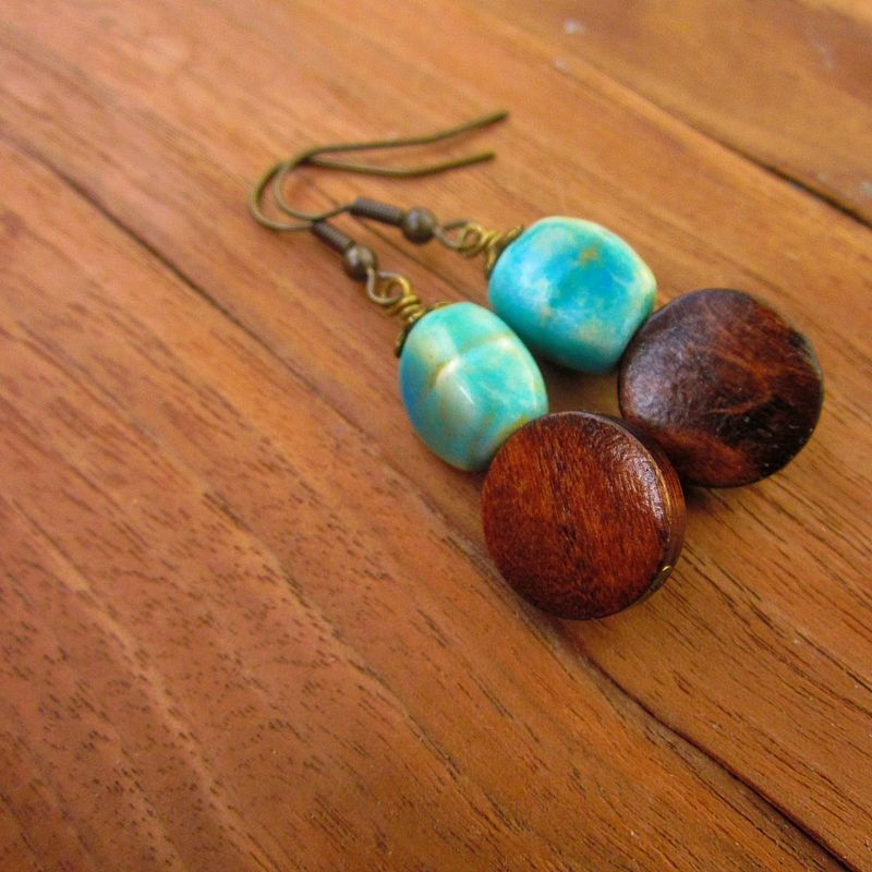 Dark Wood and Green Ceramic Bead Dangle Earrings: Penny Candy - product images  of