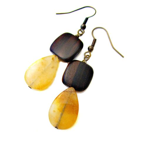 Dark,Wood,and,Yellow,Agate,Dangle,Earrings:,Tree,Sap,handmade boho wood dangle earrings, wood stone brass dangle earrings, brown and yellow earrings, casual handmade earrings, long boho style earrings, handmade dangle earrings, artist made earrings, bohemian chic dangle earrings, funky art earrings