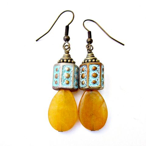 Yellow,Agate,Teardrop,Dangle,Earrings:,Katerina,handmade rustic dangle earrings with yellow agate, yellow agate dangle earrings, handmade dangle earrings, artist made earrings, bohemian chic dangle earrings, funky art earrings