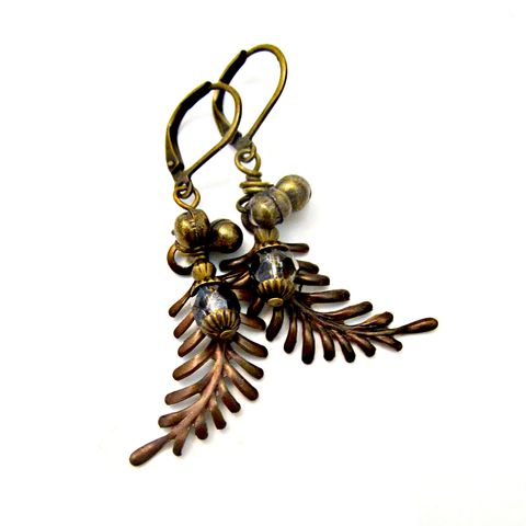 Beaded,Rustic,Brass,Fern,Dangle,Earrings:,Rainforest,handmade rustic dangle earrings, leverback fern dangle earrings, handmade brass dangle earrings, artist made earrings, bohemian chic dangle earrings, elegant leaf earrings