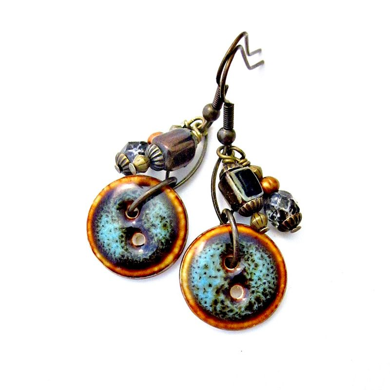 Beaded ceramic button with rustic brass dangle earrings for Custom made jewelry stores
