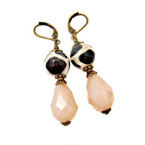 Agate,and,Acrylic,on,Rustic,Brass,Dangle,Earrings:,Winnie,handmade rustic brass earrings, handmade agate dangle earrings, handmade acrylic and brass dangle earrings, pink and brown jewelry, pink teardrop earrings, leverback dangle earrings