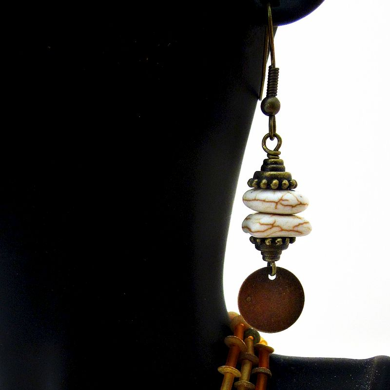 White Howlite Beaded Rustic Brass Dangle Earrings: Tebault - product images  of