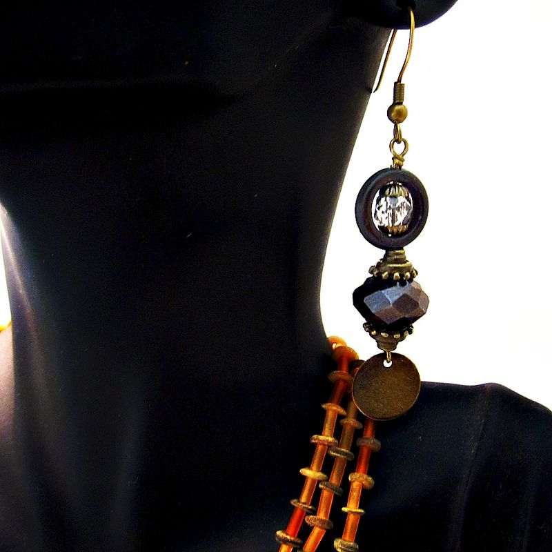 Espresso Glass and Rustic Brass Long Dangle Earrings: Tunisie - product images  of