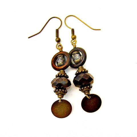 Espresso,Glass,and,Rustic,Brass,Long,Dangle,Earrings:,Tunisie,handmade long dangle earrings, rustic brass and glass earrings, elegant vintage style earrings, brown dangle earrings, romantic brass earrings, antique inspired dangle earrings, bohemian earrings