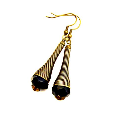 Long,Black,Glass,and,Rustic,Brass,Dangle,Earrings:,Zaire,long brass dangle earrings, rustic brass handmade earrings, faceted bead earrings, black glass dangle earrings, long ethnic dangle earrings, bohemian tribal inspired jewelry, handmade boho dangle earrings, black and brass dangle earrings