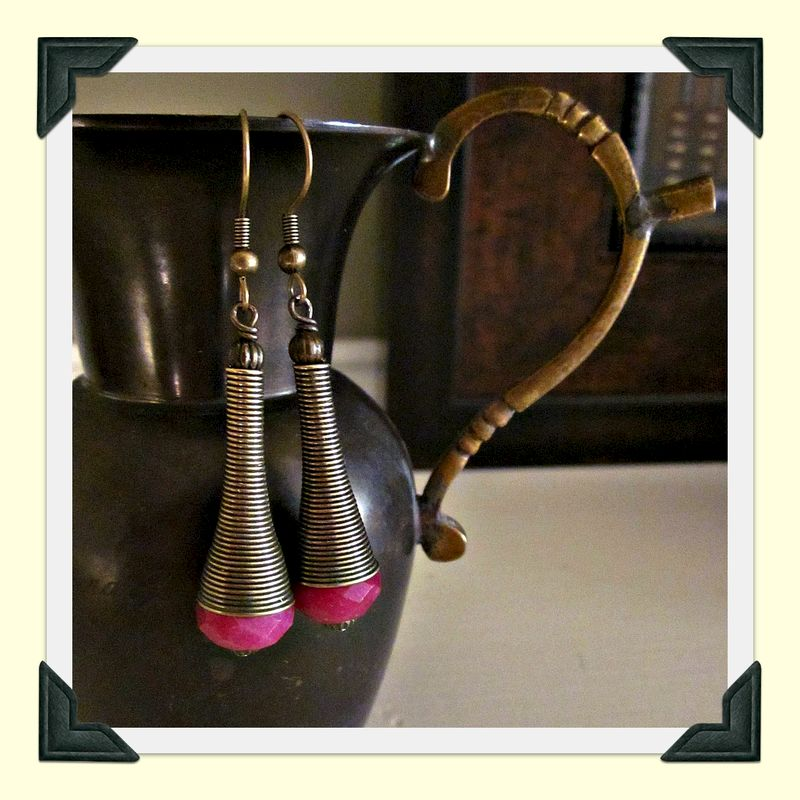 Long Fuchsia Glass and Rustic Brass Dangle Earrings: Zimbabwe - product images  of