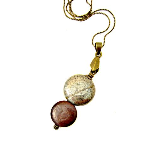 Wood,and,Pyrite,Pendant,on,Rustic,Brass,Chain,Necklace:,Seattle,handmade pyrite necklace, pyrite and wood jewelry, rustic brass boho jewelry, long pyrite pendant necklace, wood and stone jewelry, bohemian hipster necklace, fool's gold jewelry, fool's gold necklace, handmade limited edition jewelry, delicate chain neck