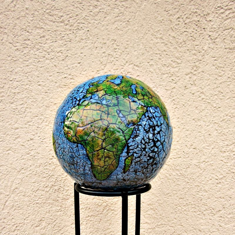 abstract papier mache globe sculpture paper earth created by ren e. Black Bedroom Furniture Sets. Home Design Ideas