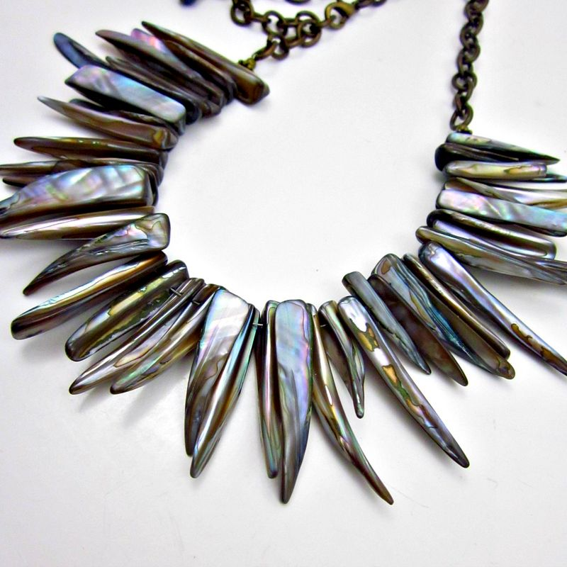 Bold Blue-Gray Natural Pearl Spike Adjustable Bib Necklace: Neptune - product images  of