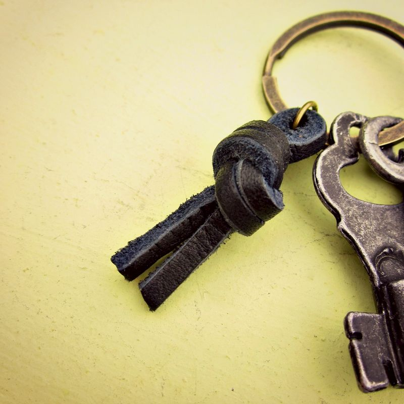 Black Leather Knot on Rustic Brass Keyring: Portland - product images  of