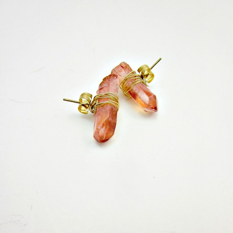Gold Wire Wrapped Pink Crystal Post Earrings: Rock Slide - product images  of