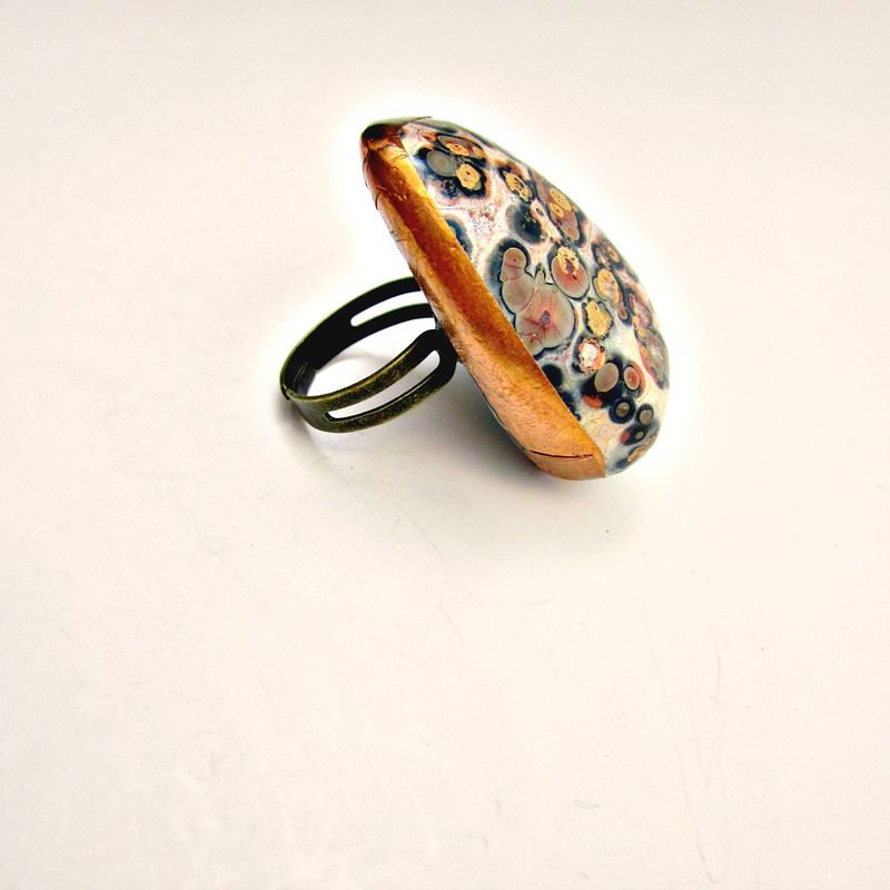 Giant Adustable Leopardskin Jasper Gemstone Couture Ring: Beast - product images  of