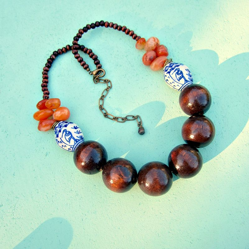 Adjustable Wood Ceramic and Agate Beaded Necklace: Blue Heron - product images  of