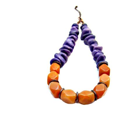 Adjustable,Orange,Aventurine,and,Purple,Marble,Chip,Necklace:,Carolina,handmade stone necklace, bold gemstone necklace, adjustable aventurine necklace, marble necklace, aventurine jewelry, rustic copper jewelry, purple and orange necklace, chunky stone jewelry, big bold jewelry, big bold necklace