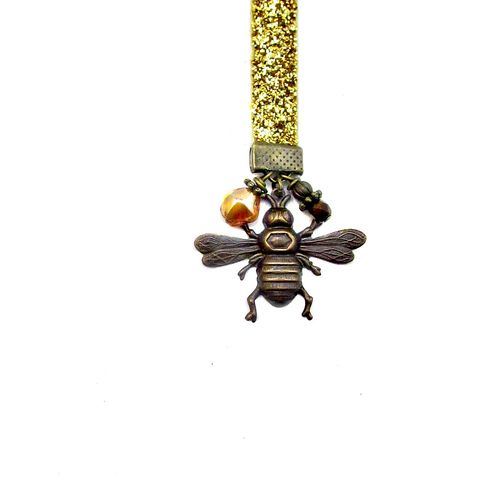 Beaded,Gold,Glittered,Ribbon,Bookmark,with,Brass,and,Glass,Accents:,Beekeeper,handmade ribbon bookmark, glittered gold ribbon bookmark, rustic ribbon beaded bookmark, elegant pendant bookmark, bumblebee bookmark, gold ribbon bookmark, bee themed bookmark, elegant accessory gifts, teacher gifts, bug bookmark, insect themed gifts