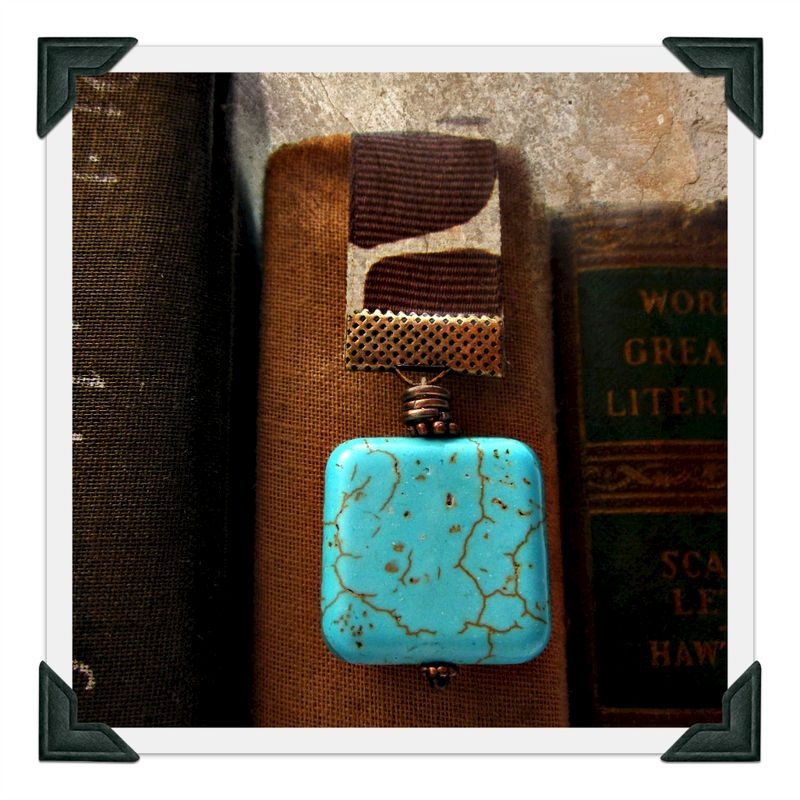 Beaded Animal Print Ribbon Bookmark with Rustic Copper and Turquoise Accents: Wrangler - product images  of