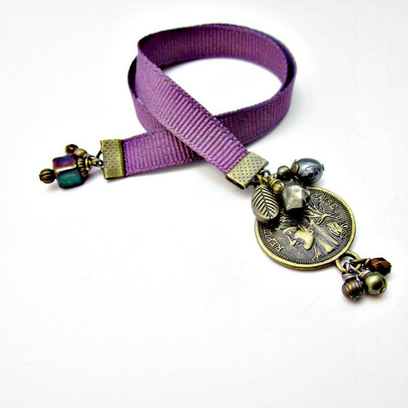Beaded Purple Ribbon Bookmark with Rustic Brass and Bead Accents: Regent - product images  of