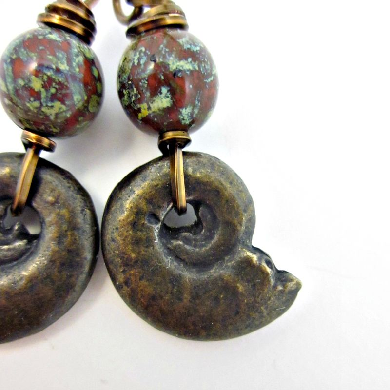 Czech Glass and Bronze Nautilus Shell Rustic Brass Dangle Earrings: Siren - product images  of