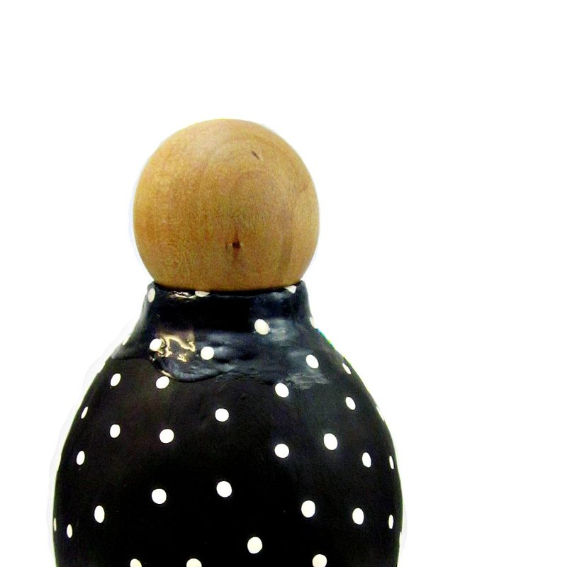Polka Dot Paper Mache Bottle with Wood Cork Stopper: Wave Vessel #1 - product images  of