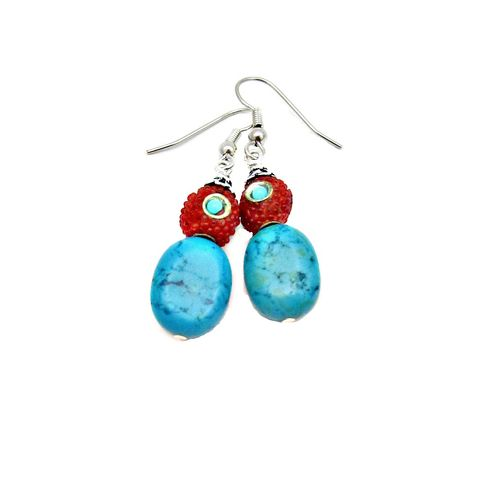 Red,Encrusted,Silver,and,Turquoise,Stone,Beaded,Dangle,Earrings:,Fresca,handmade red glass and blue turquoise silver dangle earrings, red and blue earrings, southwester inspired earrings, eastern inspired earrings, handmade stone and glass earrings