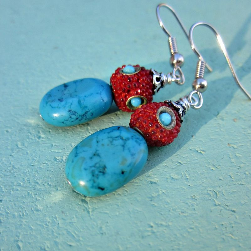 Red Encrusted Silver and Turquoise Stone Beaded Silver Dangle Earrings: Fresca - product images  of