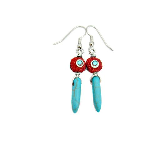 Red,Encrusted,Silver,and,Turquoise,Pin,Beaded,Dangle,Earrings:,Sierra,handmade red glass and blue turquoise silver dangle earrings, red and turquoise earrings, southwestern inspired earrings, eastern inspired earrings, handmade stone and glass earrings, stone pin earrings