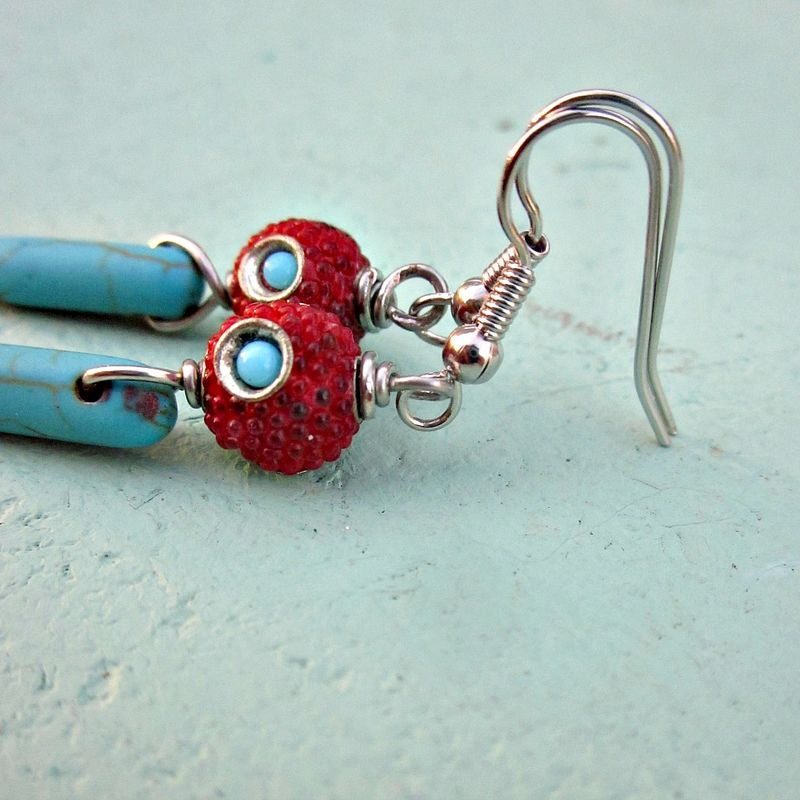 Red Encrusted Silver and Turquoise Pin Beaded Silver Dangle Earrings: Sierra - product images  of