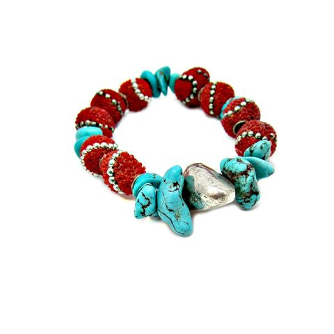 Blue,Turquoise,and,Red,Kashmiri,Tribal,Beaded,Stretch,Bracelet,with,Silver,Leaf,Accent:,Kailash,handmade turquoise bracelet, tribal inspired bracelet, southwestern inspired stretch bracelet, red and turquoise stretch bracelet, kashmir bead bracelet