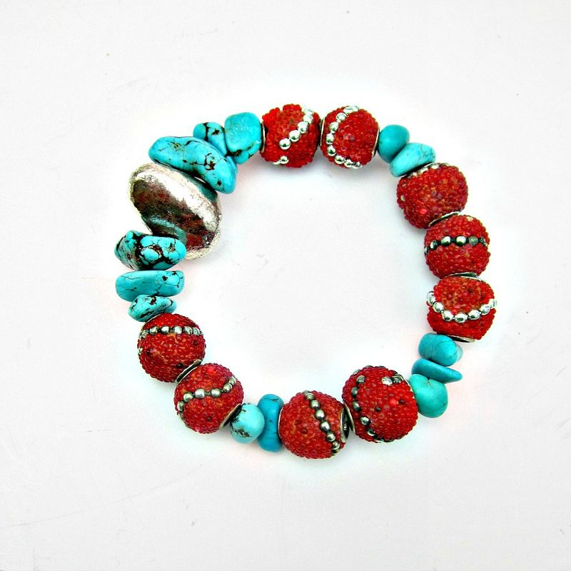 Blue Turquoise and Red Kashmiri Tribal Beaded Stretch Bracelet with Silver Leaf Accent: Kailash - product images  of
