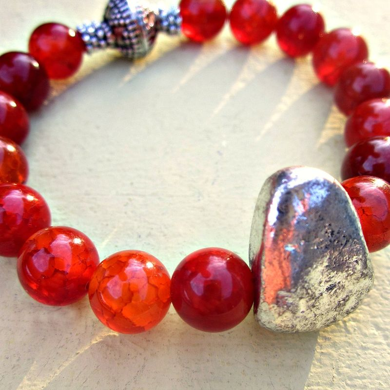 Dyed Red Agate and Silver Beaded Stretch Bracelet with Silver Leaf Accent: Rumi - product images  of