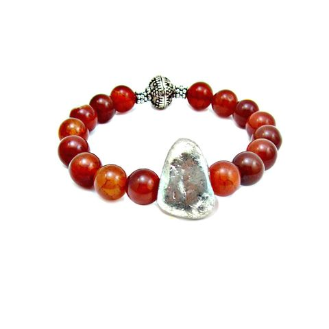 Dyed,Red,Agate,and,Silver,Beaded,Stretch,Bracelet,with,Leaf,Accent:,Rumi,handmade agate beaded bracelet, tribal inspired bracelet, red agate stretch bracelet, red and silver stretch bracelet, stacking bracelet