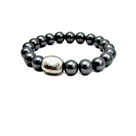 Dark,Silver,Hematite,Unisex,Beaded,Stretch,Bracelet,with,Pebble,Accent:,Samsa,handmade hematite beaded bracelet, hill tribe inspired bracelet, hematite stretch bracelet, non magnetic hematite stretch bracelet, stacking bracelet