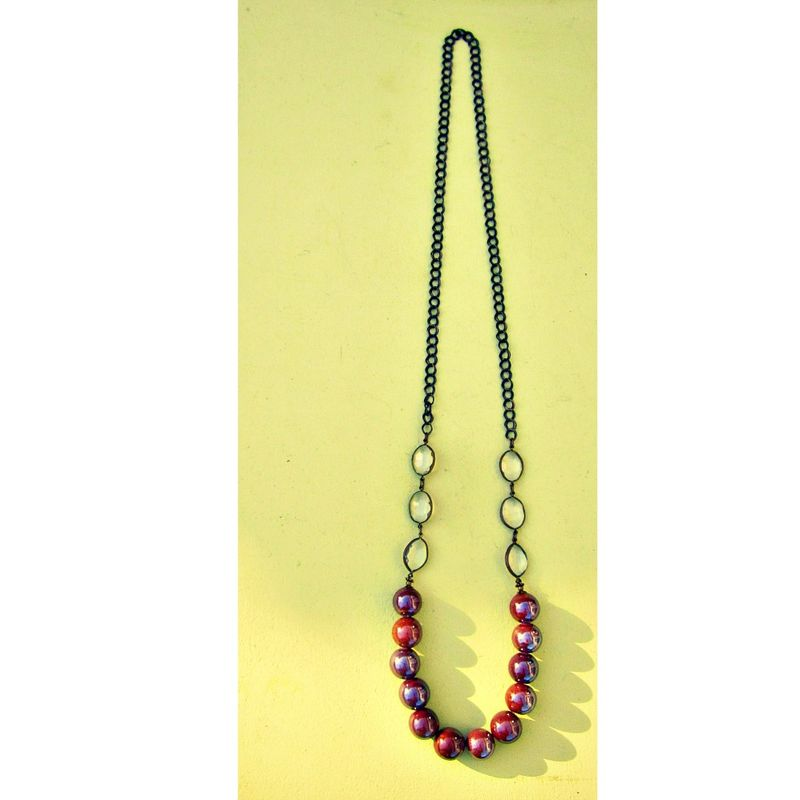 Iridescent Chocolate Ceramic Beaded Long Chain Necklace: Essie - product images  of