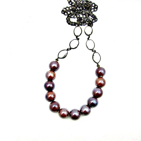Iridescent,Chocolate,Ceramic,Beaded,Long,Chain,Necklace:,Essie,handmade beaded ceramic and chain necklace, beaded ceramic necklace, long bead and chain necklace, no clasp long necklace, elegant beaded necklace, brown beaded glass necklace