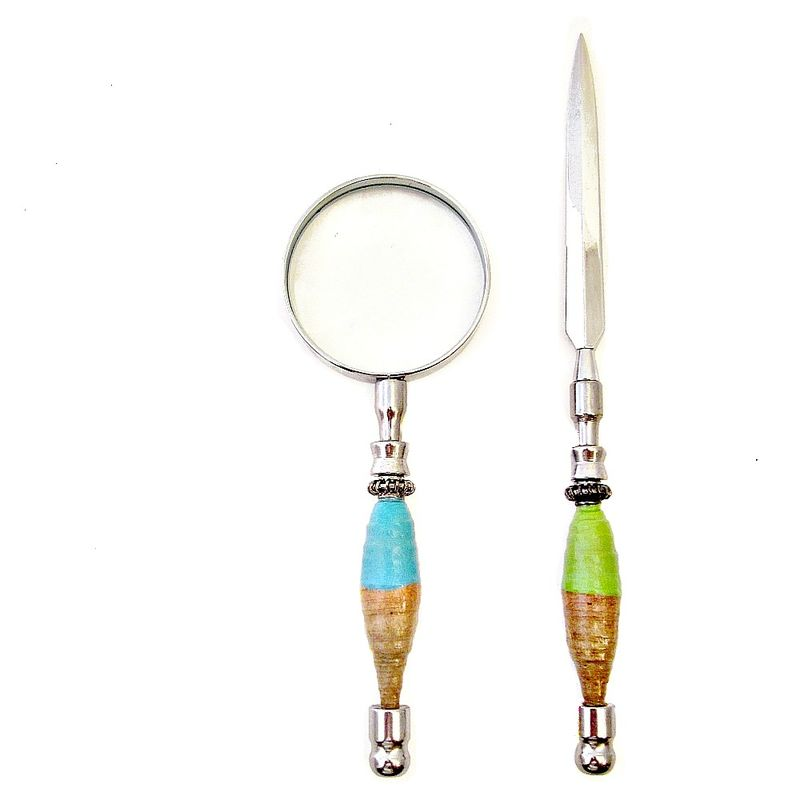 Desk Accessory Set: Magnifying Glass and Letter Opener with Handmade Recycled Paper Bead Handle: Modish - product images  of