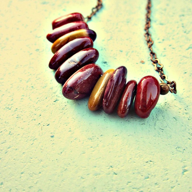 Adjustable Mookaite Jasper Beaded Rustic Brass Chain Necklace: Matilda - product images  of