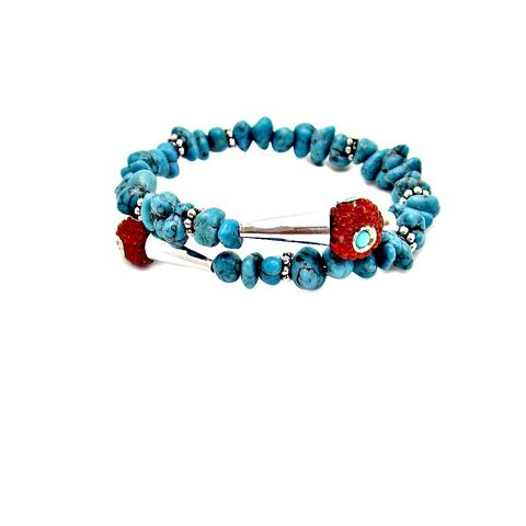 Blue,Howlite,and,Red,Kashmiri,Tribal,Beaded,Cuff,Bracelet,with,Accents:,Kada,handmade turquoise bracelet, tribal inspired bracelet, blue and red cuff bracelet, red and turquoise wrap bracelet, kashmir bead bracelet, wire cuff bracelet