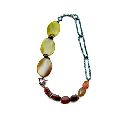 Agate,Couture,Stone,Statement,Necklace:,Sidra,handmade couture agate necklace, bold chunky agate necklace, handmade agate necklace with toggle clasp, agate and copper jewelry, bold stone necklace, red yellow green copper beaded necklace