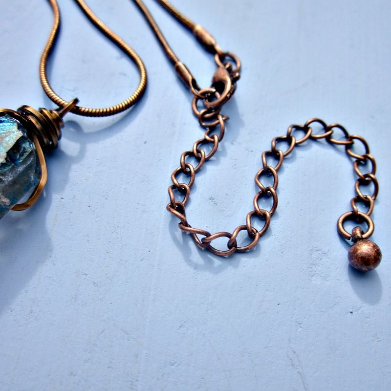 Wire Wrapped Blue Druzy Quartz Crystal Pendant on Rustic Copper Snake Chain Necklace: Venus - product images  of