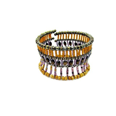 Adjustable,Convertible,Beaded,Cage,Cuff,Bracelet:,Nile,beaded cage cuff bracelet, handmade adjustable wire cuff, glass and wood beaded bracelet, wide beaded cuff, beaded art jewelry, convertible cuff bracelet
