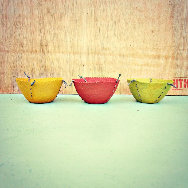 Set of Three Handmade Mini Stitched Paper Mache Bowls - product images  of