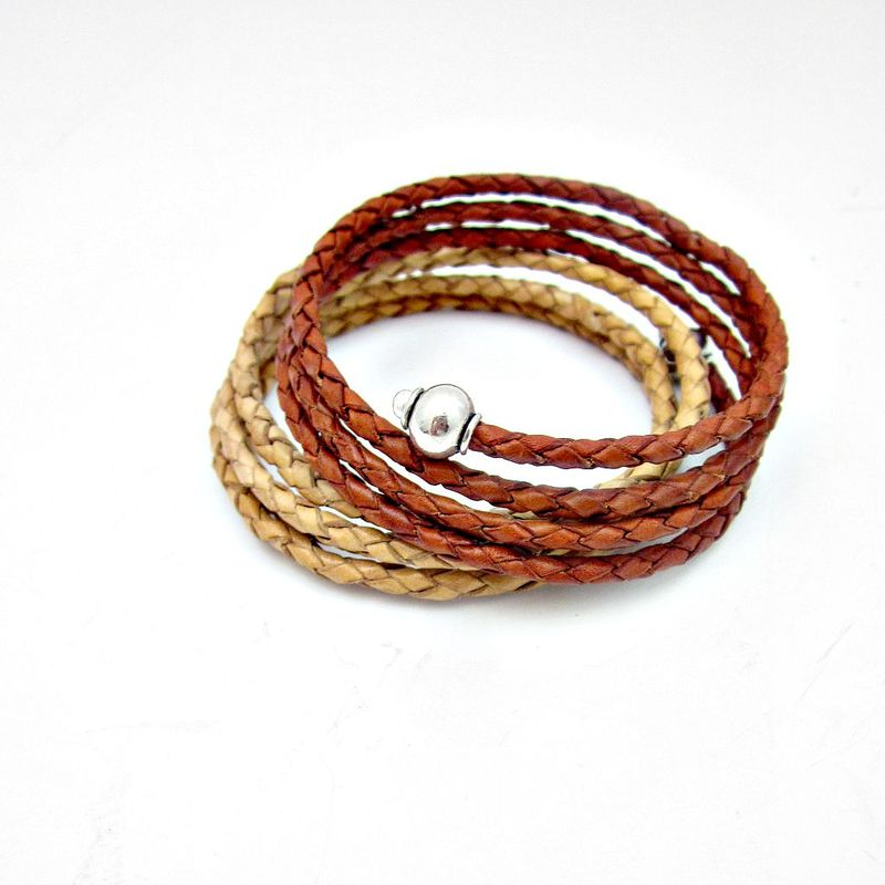 Braided Leather Wrap Bangle Bracelet with Silver Accents: Maize - product images  of