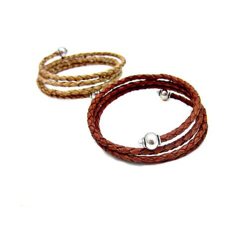 Braided,Leather,Wrap,Bangle,Bracelet,with,Silver,Accents:,Maize,leather wrap bracelet, braided leather bracelet, tan leather wrap bracelet, leather memory wire bracelet, flexible adjustable bracelet, no clasp bracelet