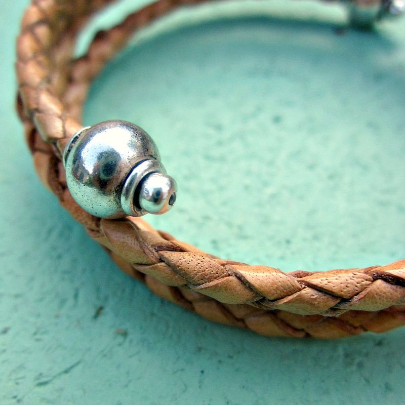 Braided leather wrap bangle bracelet with silver accents for Artistic accents genuine silver decoration