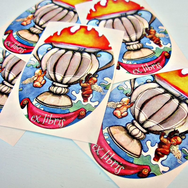 Art Bookplate ID Labels Featuring Original Watercolor Art: Flaming Cup - product images  of