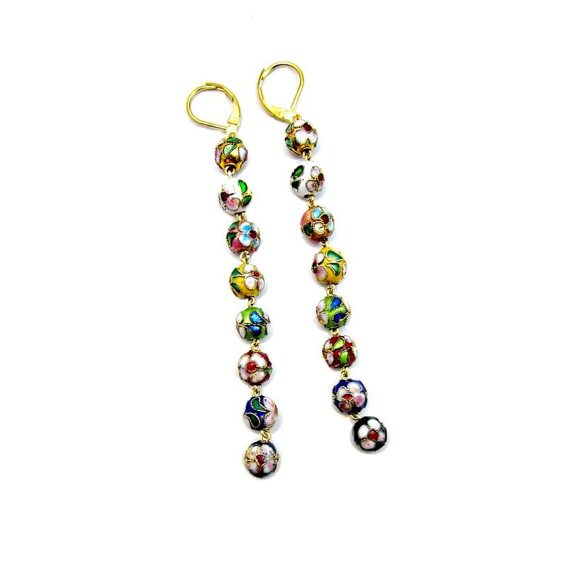Custom Cloisonne Bead Gold Dangle Earrings: Gayle - product image