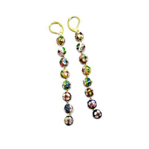 Custom,Cloisonne,Bead,Gold,Dangle,Earrings:,Gayle,custom design jewelry, salvaged jewelry, upcycled jewelry, handmade cloisonne earrings, cloisonne bead dangle earrings, beaded long earrings